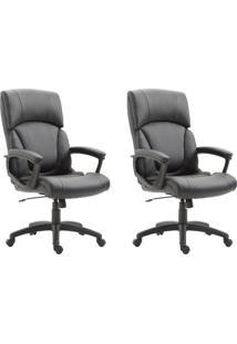 Conjunto Com 2 Cadeiras De Escritório Presidente Otho Preto