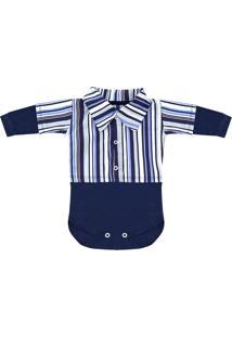 Body Padroeira Baby Listrado Azul Marinho