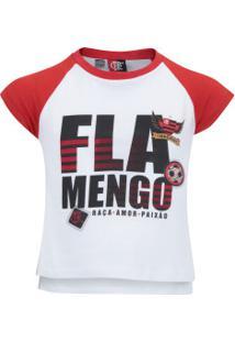 Camiseta Do Flamengo School Feminina - Infantil - Branco/Vermelho
