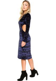 Vestido Ellus Midi Veludo Stripes Azul