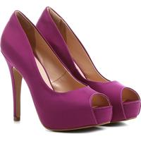 7357e31aca Peep Toe Shoestock Festa Meia Pata Embutida - Feminino-Pink
