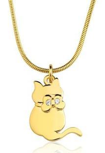 Colar Toque De Joia Gato Zircônias Ouro Amarelo - Feminino-Dourado