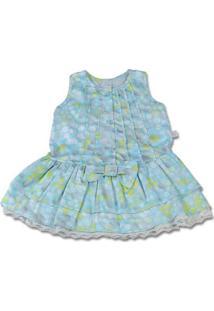 Vestido Infantil Cetim De Algodão Estampado Bolas - Turquesa 3