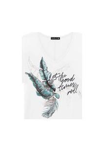 T-Shirt Plus Size Melinde Com Foil Branca