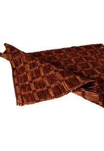 Tapete Decorativo Check Chocolate Grande Com Tiras De Couro