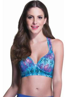 Top Fit Estruturado Print Azul | 506.807