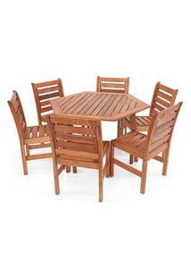 Conjunto Mesa De Jantar Em Madeira Sextavada Com 6 Cadeiras Magazine Decor - Jatobá
