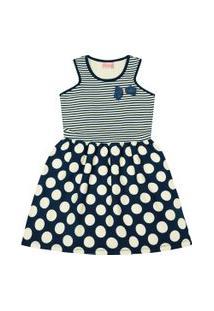 Vestido Infantil - Top Listrado - Algodão E Elastano - Marinho - Duduka