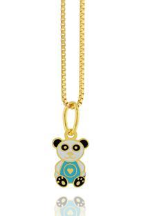 Colar Dona Diva Semi Joias Panda Dourado