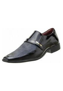 Sapato Social Goffer Adereço Metalizado Preto