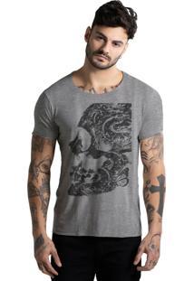 Camiseta Joss Corte A Fio Caveira Pela Metade Mescla