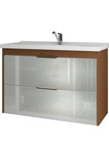 Gabinete De Banheiro Lavanda 1 Pt 1 Gv Amêndoa E Branco 79 Cm