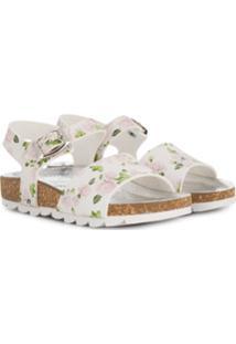 Monnalisa Sandália Com Estampa Floral - Branco
