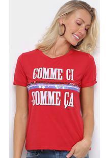 Camiseta Eagle Rock Comme Ci Paetês Feminina - Feminino-Vermelho