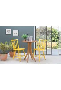 Mesa Redonda E 2 Cadeiras Juliette - Jatobá E Amarelo