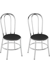 Conjunto Com 2 Cadeiras Vinil Preto E Cromado