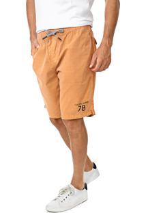 Bermuda Calvin Klein Jeans Reta Amarração Caramelo