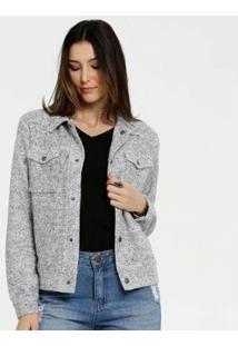 Jaqueta Textura Botões Marisa Feminina - Feminino-Cinza