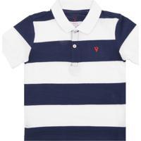 98e59d7775 Camisa Polo Vr Kids Listrada Azul Branca