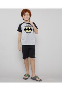 Pijama Infantil Tal Pai Tal Filho Batman Raglan Manga Curta Cinza Mescla