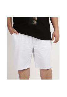Bermuda De Sarja Masculina Plus Size Relaxe Com Bolso Branca