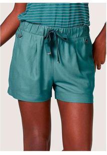 Shorts Básico Feminino Em Viscose Verde