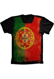 Camiseta Baby Look Lu Geek Flag Portugal Preto
