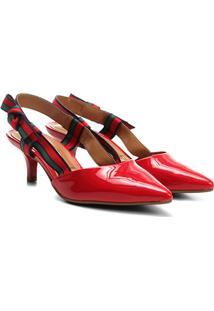 70ab05135 Scarpin Vizzano Salto Médio Chanel Laço Verniz - Feminino-Vermelho