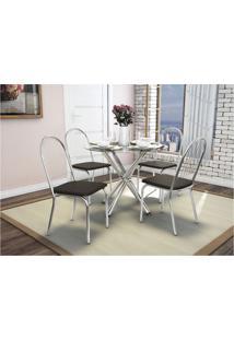 Conjunto De Mesa Com 4 Cadeiras Crome Cromado E Marrom Kappesberg