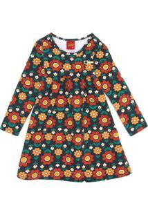 Vestido Kyly Infantil Flores Laranja