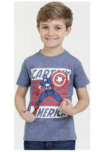 Camiseta Infantil Estampa Capitão América Manga Curta Marvel 94c242fea1720