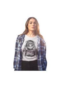 Camiseta Feminina Mirat Macaco Astronauta Branco