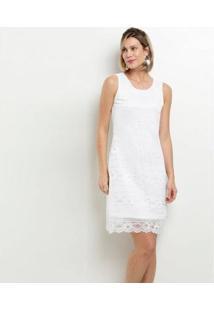 Vestido Marisa Social Renda Feminino - Feminino-Branco