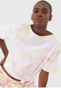Camiseta Alto Giro Tie Dye Rosa