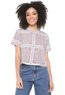 Camiseta Cropped Lez A Lez Estampada Branca