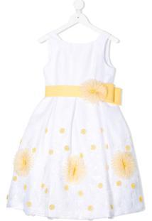Colorichiari Vestido Evasê Com Aplicação Floral - Branco