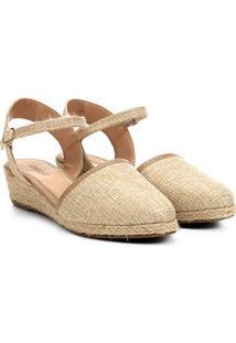 fcabb9cab Sandália Anabela Shoestock Espadrille Linho Feminina - Feminino-Bege