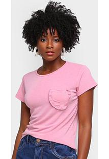 Camiseta Volare Bolso Babados Feminina - Feminino-Rosa