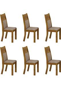 Conjunto Com 6 Cadeiras Havaí Canela E Cinza