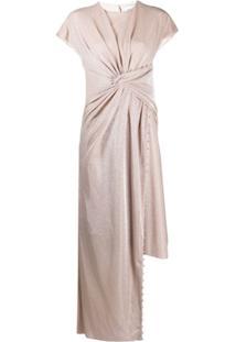 Lanvin Vestido Assimétrico Metálico - Rosa
