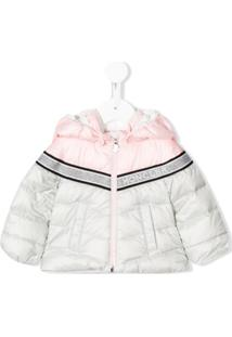 Moncler Kids Two-Tone Logo Band Puffer Jacket - Cinza