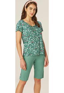 Pijama Verde Floral Em Viscose