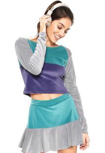 Camiseta Cropped Memo Veludo Bicolor Verde/Roxa