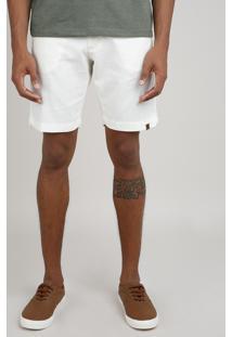 Bermuda Masculina Reta Com Linho E Cordão Bege Claro