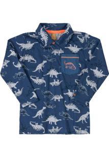 Camisa Polo Manga Longa Dinossauro Azul