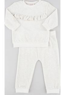 Conjunto Infantil De Blusão Com Babado + Calça Em Plush Bege Claro
