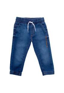 Calça Jeans Infantil Oznes Jogger Menino Azul
