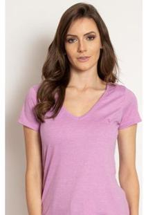 Camiseta Aleatory Feminina Gola V Básica Mescla - Feminino-Lilás