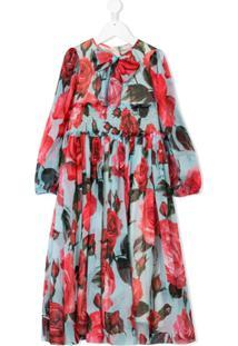Dolce & Gabbana Kids Vestido Flare Floral De Seda - Rosa