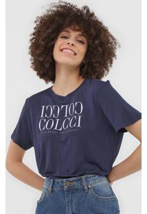 Camiseta Colcci Logo Azul-Marinho - Azul Marinho - Feminino - Viscose - Dafiti